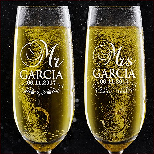 Set of 2, Personalized Wedding Toast Champagne Flutes - Mr. Mrs. Date & Last Name Champagne Wedding Glasses - Engraved Flutes for Bride and Groom Gift for Customized Wedding Gift