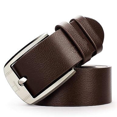 5de0602b8ed6 CHIGANT Mode homme casual ceinture large en cuir boucle ardillon ceinture  Ceintures  Amazon.fr  Vêtements et accessoires