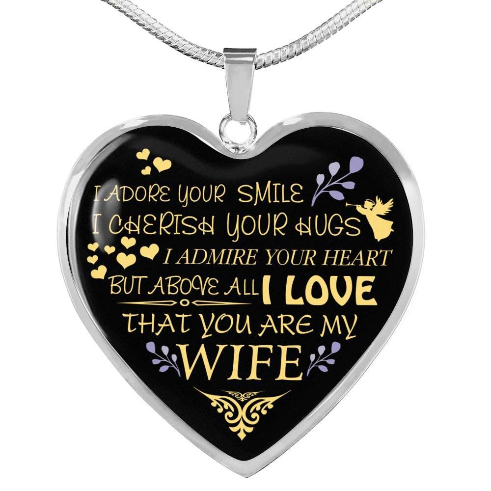 Luxury Gift for Love Sentimental Gift for Wife from Husband On Birthday Gold Silver Heart Pendant Chain Novelty Gift for Woman Valentine Perfect Wife Necklace