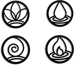 SOFT ART HOME Modern Wall Art Four Elements, Metal Wall Decoration 4 Pieces for Home. 4 Elements Interior Decor for Office and Living Room, Natural Themed House Warming Gift.