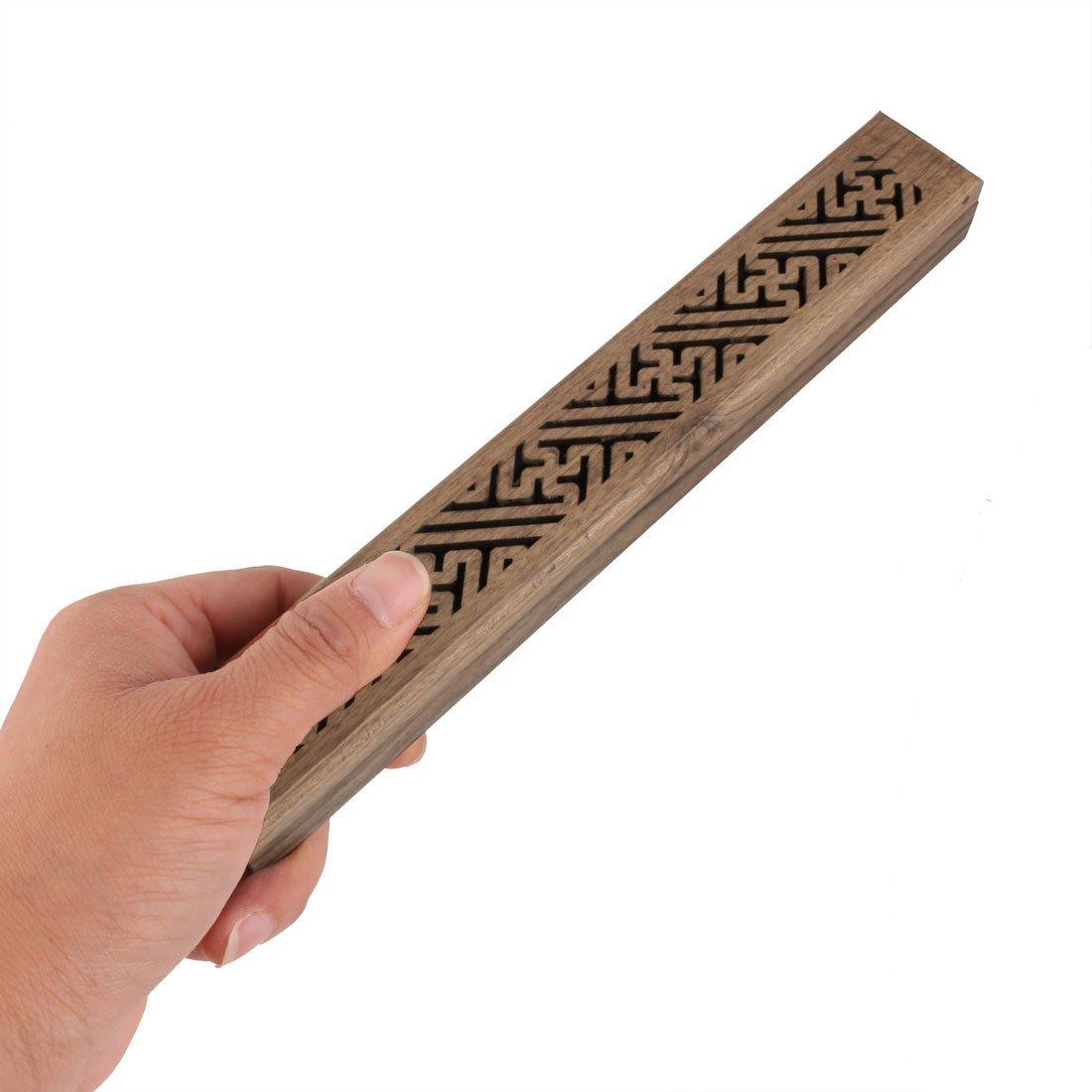 eDealMax Cuibourtia SPP Inicio del rectángulo tallado hueco Holder Diseño Caja de incienso Brown