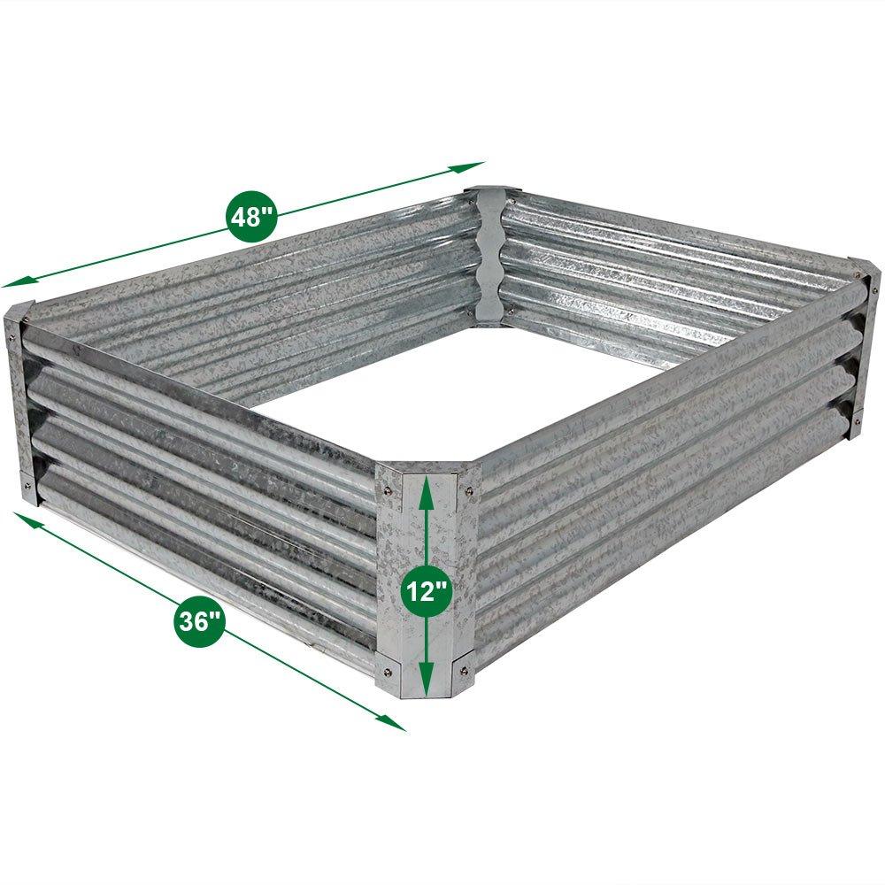 Juego de cama elevada de jardín Sunnydaze, de acero galvanizado ...