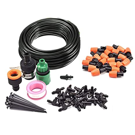 ZivaTech DIY 80FT 30 Nozzles Misting System Kit for Outdoor Patio Garden Greenhouse Reptile Mosquito Prevent