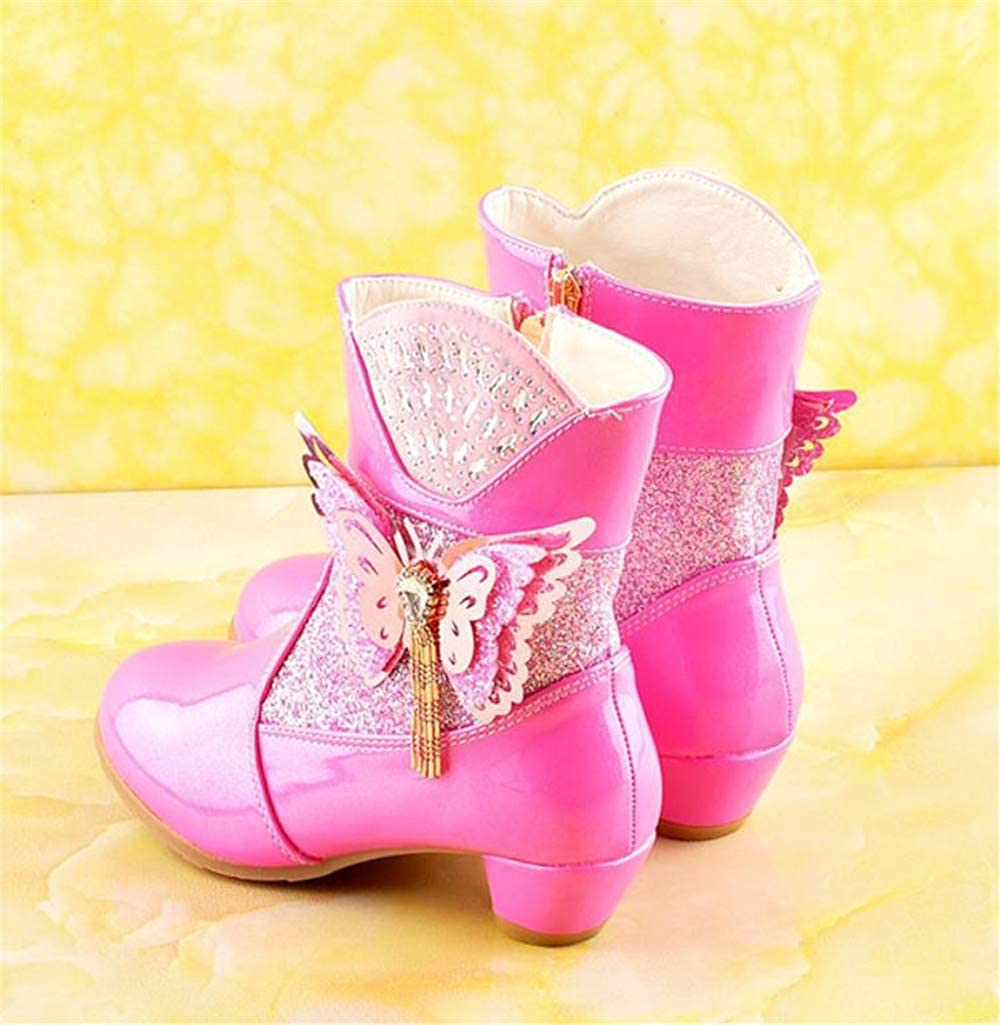 Princess Boots Genuine Leather high Heel Ankle Boots Plus Velvet Snow Boots