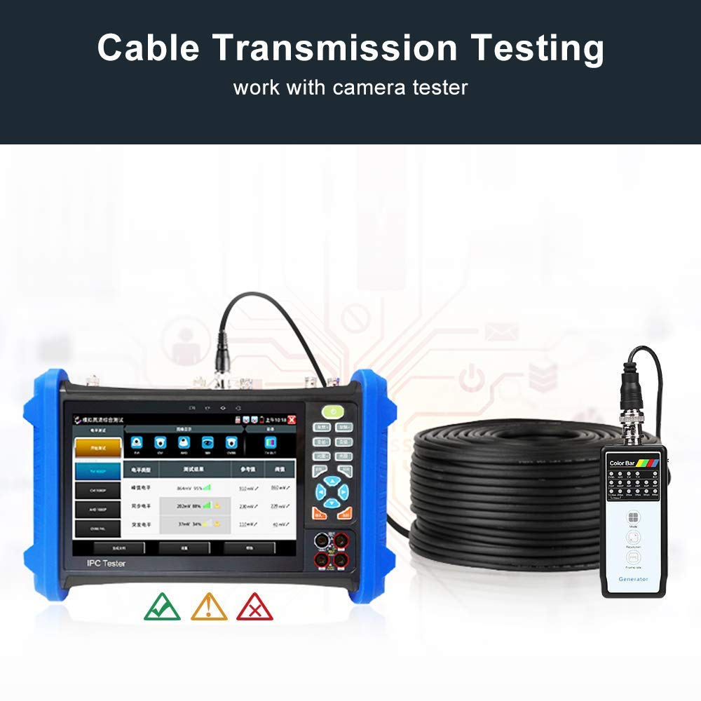 IP Camera CCTV Color Bar Generator, TOMLOV BNC Video Pattern Generator Cable Tester Working with CCTV Camera Security Tester Monitor Support 4MP CVI 5MP TVI AHD CVBS by TOMLOV