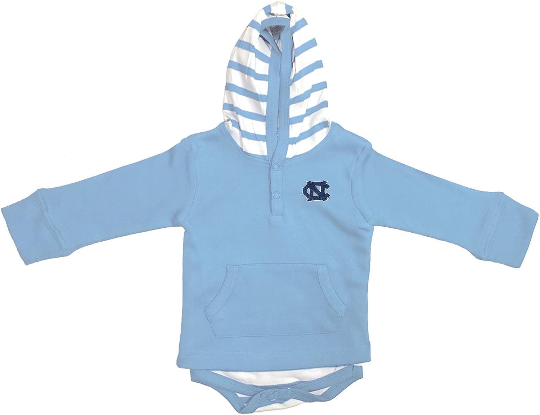 North Carolina Tar Heels Newborn Infant Striped Hooded Creeper Sweatshirt Jacket