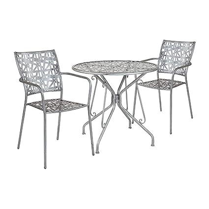 Silver Patio Furniture.Amazon Com Offex 31 5 Round Antique Silver Indoor Outdoor Steel