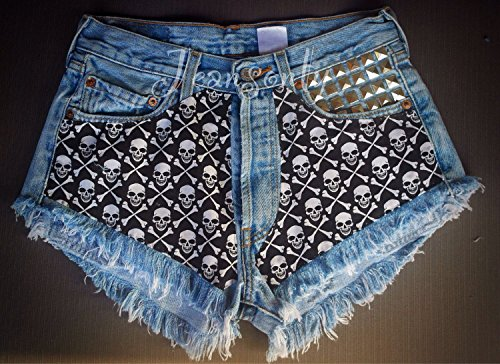 Halloween Levis High waisted denim shorts Skull Studded Grunge Gothic Hipster Tumblr Clothing