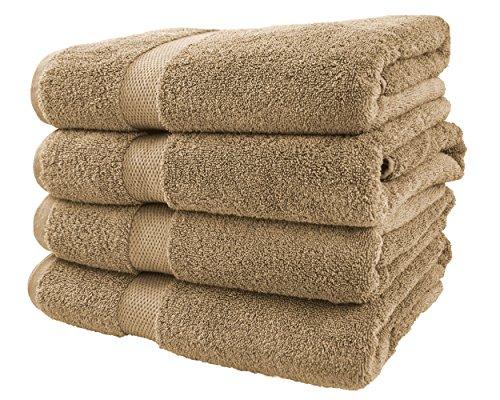 (Cotton & Calm Exquisitely Plush and Soft Bath Towel Set, Beige - 4 Large Bath Towels Set - Spa Resort and Hotel Quality, Super Absorbent 100% Cotton Luxury Bathroom)