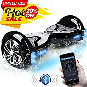"""TOMOLOO Self-Balancing Scooter UL2272 Certified 6.5"""" Wheel Hoverboard with RGB Lights Bluetooth Speaker Customizable App Black …"""