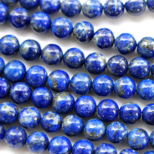 Tacool Natural Color Genuine Blue Lapis Lazuli Real Gemstone Loose Beads for Necklace Jewelry Making (round 6mm)