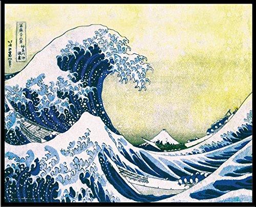 Culturenik Katsushika Hokusai The Great Wave Japanese Fine Art Poster Print, Framed 16x20
