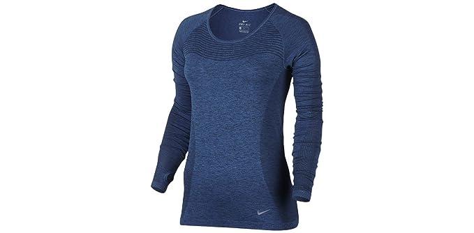 768e4aad3efb Amazon.com  Nike Dri-fit Knit Long-Sleeve Running Top Blue Black ...