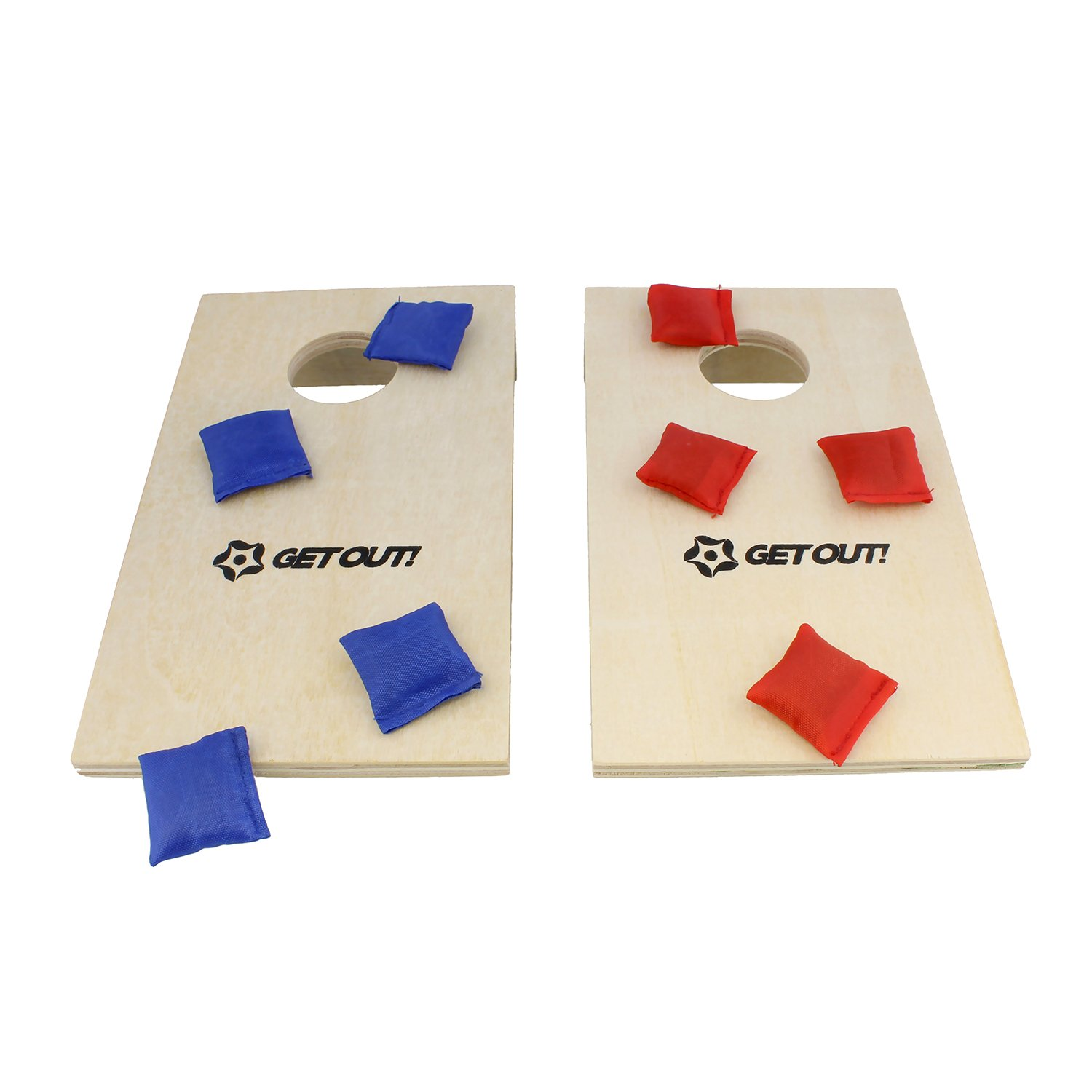 Get Out! | Mini Corn Hole Set, Bean Bag Toss Game – Tabletop Cornhole, Kids Bean Bag Toss Game, Indoor Cornhole Game