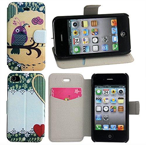 Apple iPhone 4 4S Kunst Leder LILA VOGEL DESIGN Schutz-Hülle Handy Case Flip Tasche Cover thematys®