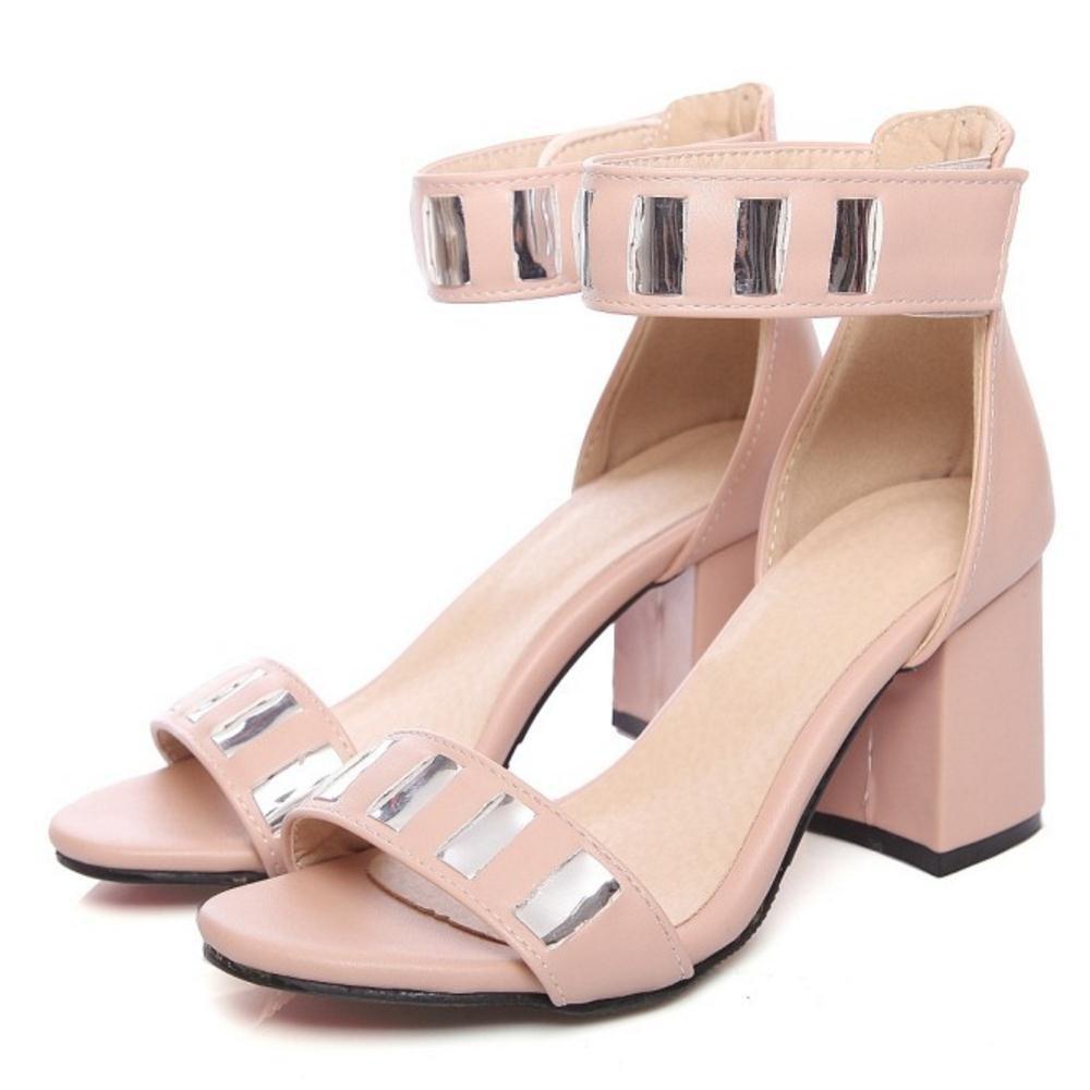 FANIMILA Women Chunky Heel Sandals B07B45K6VV Shoes B07B45K6VV Sandals 7 US = 24.5 CM|PU Pink e3a85d