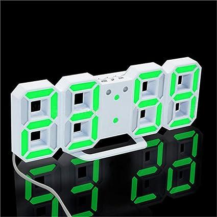 NAOZHONG Noche Del Escritorio 3D Led Reloj Despertador Digital Colgantes Relojes De Pared 24And12 Horas De