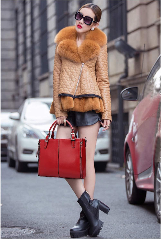 QNN Borsa a Mano, Borsa da Donna Nuova Borsa a Tracolla Retrò Moda Semplice Borsa a Tracolla 31 * 10 * 26 cm Marrone,Rosso Nero
