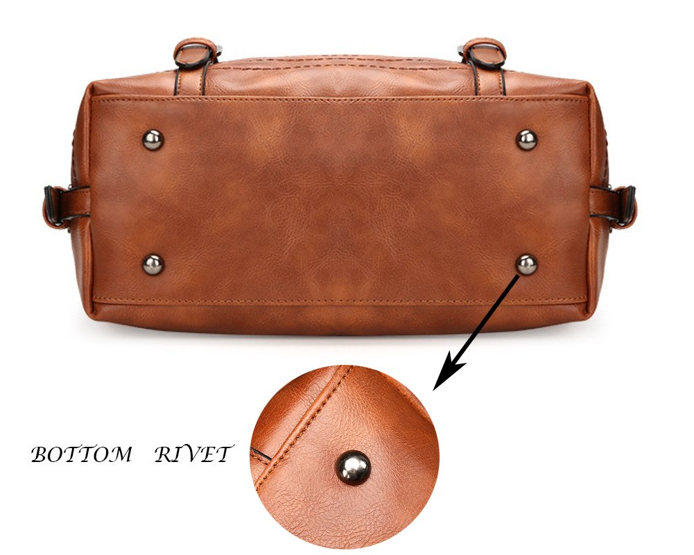 Juilletru Black Women Tote Bags PU Leather Handbags Top Handle Vintage Purse Crossbody Shoulder Bag by Juilletru (Image #5)