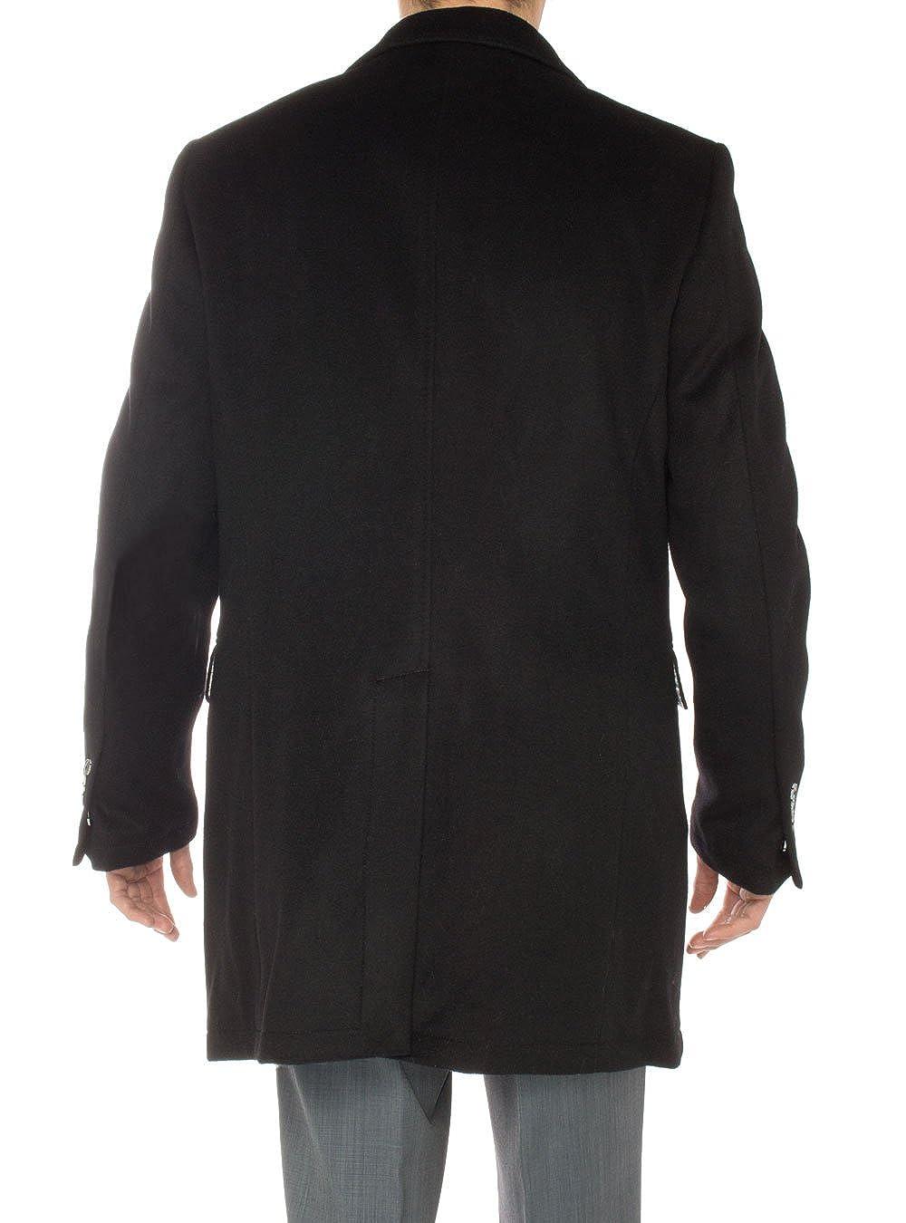 LN LUCIANO NATAZZI Mens Cashmere Trench Coat Classic Modern Topcoat Overcoat