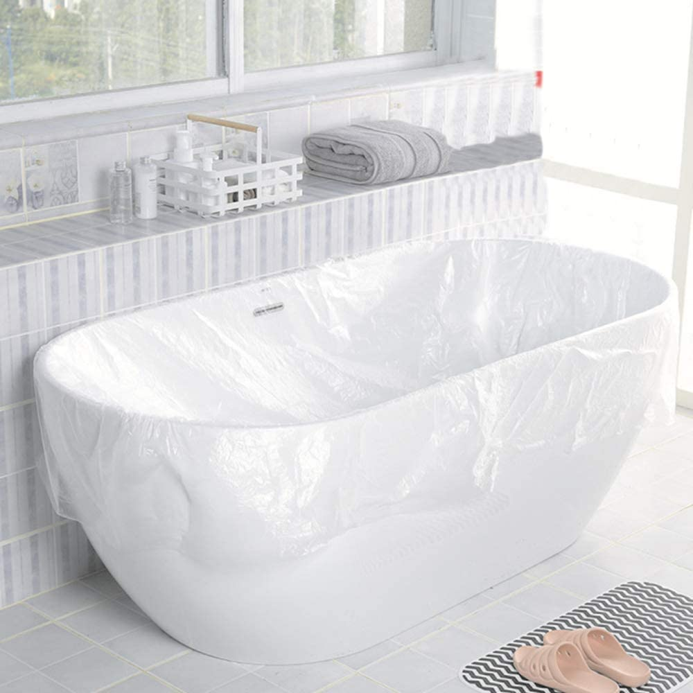 Hotel,Household and Salon SelfTek 8 Pack Disposable Bathtub Cover Liner with 36 Pieces Self Adhesive Dots 86 x 47 inch Individual Bathtub Bag for Traveling