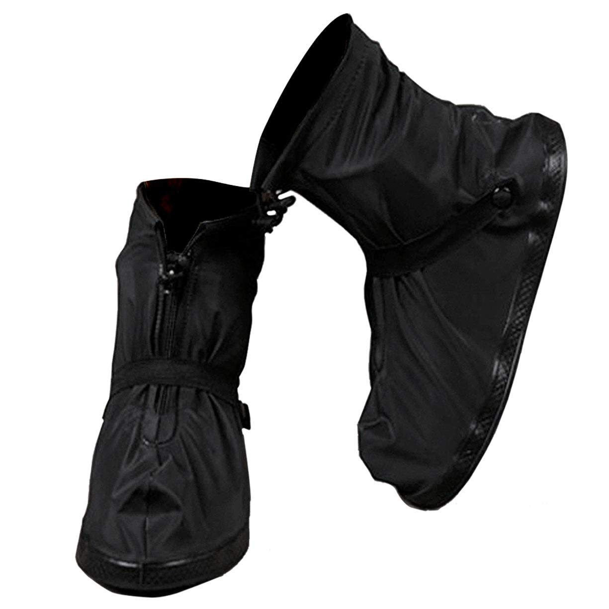 VXAR Rain Shoes Covers Snow Boots Waterproof Overshoes Women Men (Black 4XL)