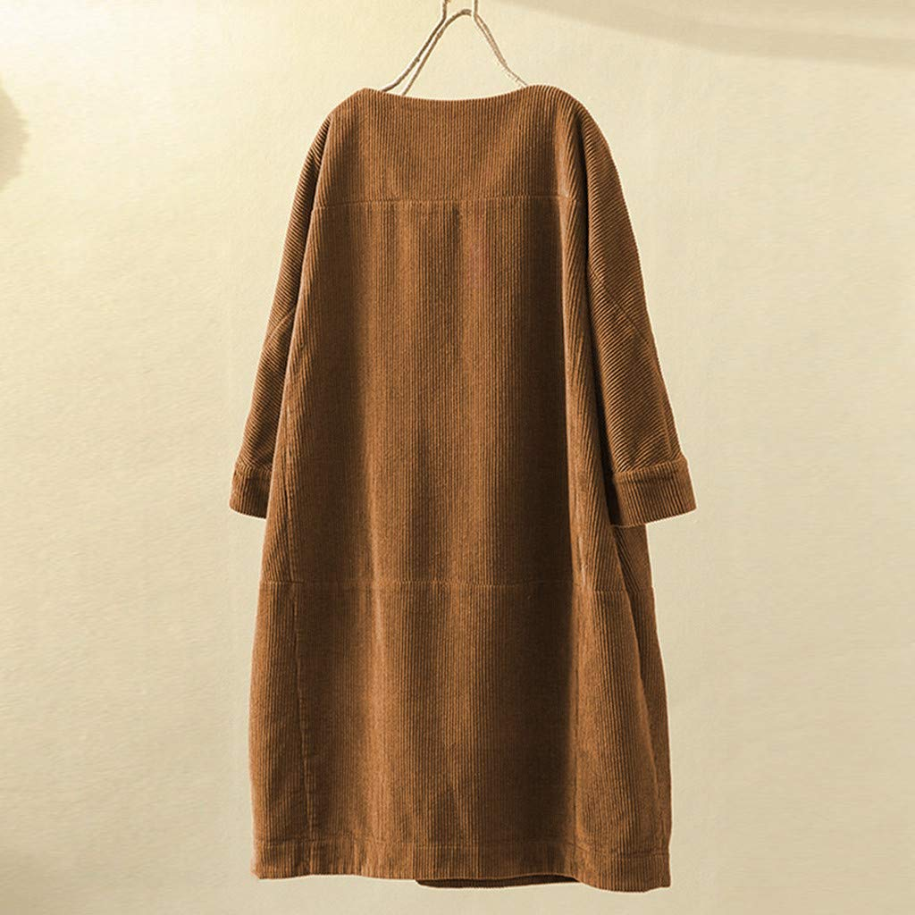Toimothcn Women Vintage Corduroy Half Sleeve Solid Color Loose Casual Pullover T Shirt Dress