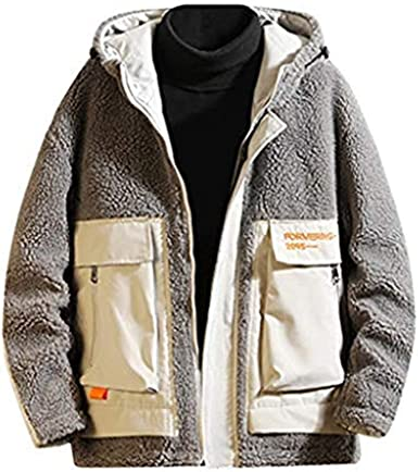 SELX Men Quilted Faux Fur Lined Hoodie Thicken Zip Up Warm Down Coat