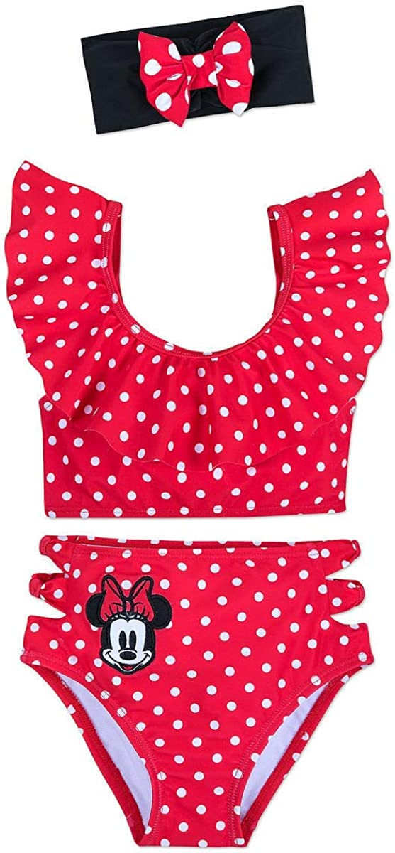 Disney Mickey Mouse and Minnie Mouse Swimsuit and Shorts Set for Girls Purple
