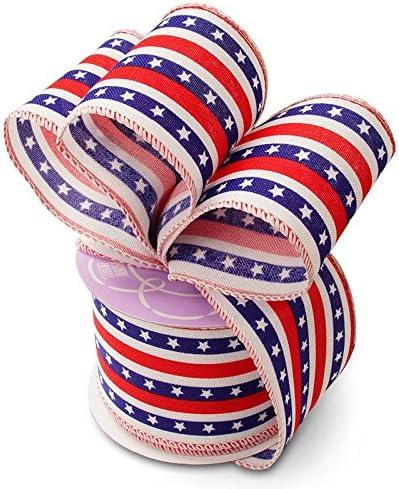 Spring Ribbon White Ribbon 1.5\u201d x 5 yards Sheer Ribbon Patriotic Ribbon Easter Ribbon Wired Ribbon