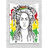 Rasta Tapestry by Ambesonne, Grunge Ethiopian Flag Colors with a Black and White Sketchy Girl Image, Wall Hanging for Bedroom Living Room Dorm, 40 W X 60 L Inches, Red Marigold and Green
