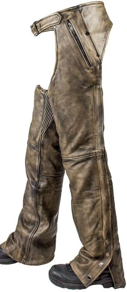 Dream Apparel Motorcycle Distressed Brown Soft Leather CHAP Fully Lined W/ 4 Pocket SNAP Zip (2XL Regular) Unbranded C-334-12