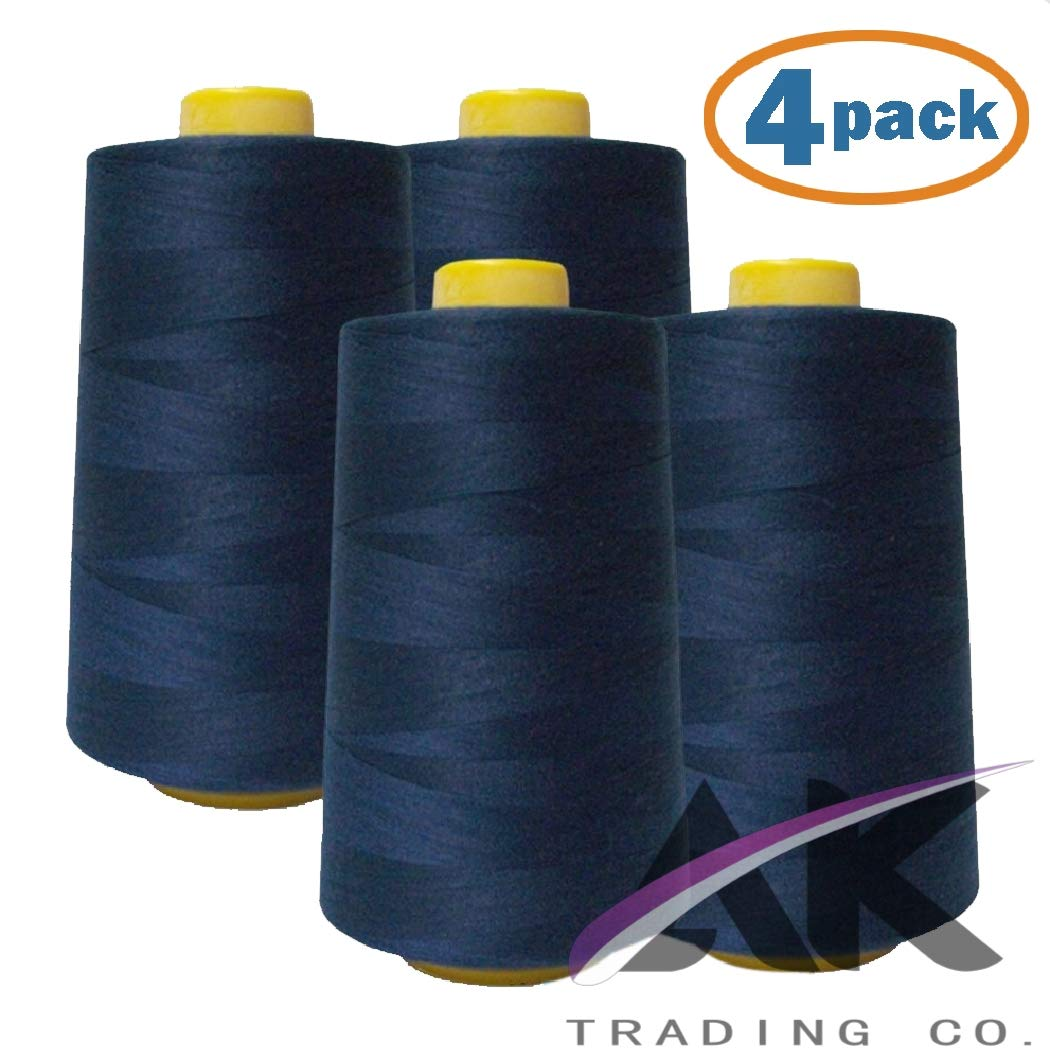 AK Trading 4-Pack Navy Blue All Purpose Sewing Thread Cones (6000 Yards Each) of High Tensile Polyester Thread Spools for Sewing, Serger Machines, Quilting, Overlock, Merrow and Embroidery by AK TRADING CO.
