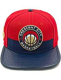 Men's NBA New Orleans Pelicans Leather Strapback Hat W/Pin Red