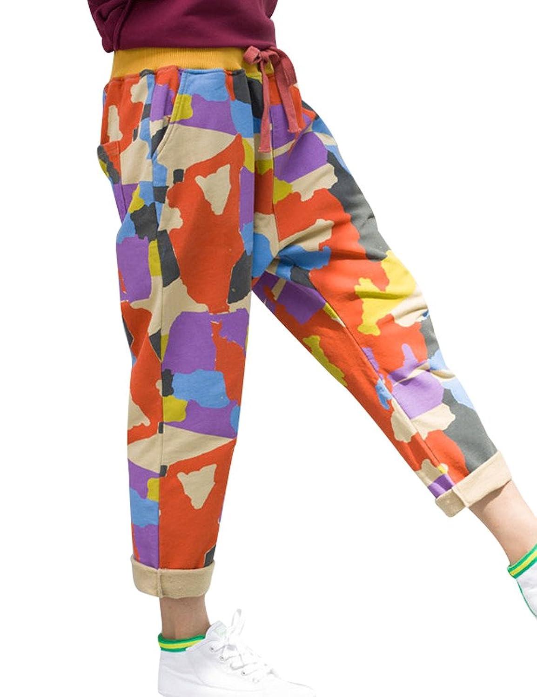 Yolee Women's Elastic Waist Printed Pants
