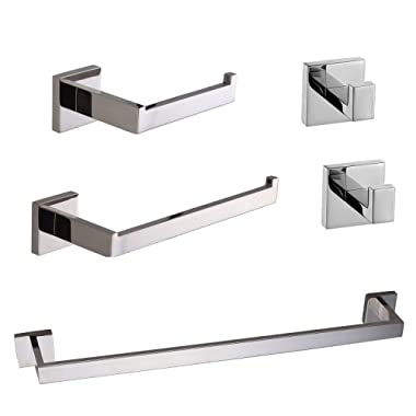 TRUSTMI 5-Piece Bathroom Accessory Set Robe Hook Towel Bar Toilet Roll Paper Holder Towel Hanger Wall Mounted, SUS 304 Stainless Steel, Polished Chrome