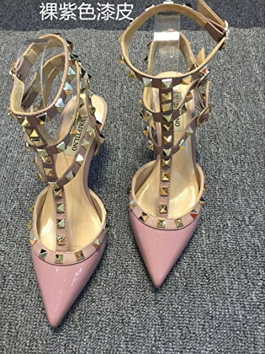 VIVIOO Tacones altos Sandalias de tacón alto Remaches Tacones con punta T-Straps Zapatos de tacón bajo Sandalias de uñas 9.5cm bare purple A