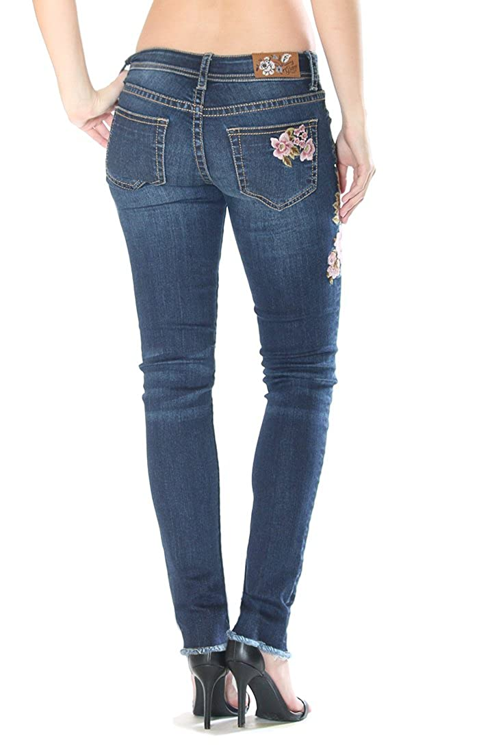 Grace in LA Womens Pink Rose Distressed Skinny Jeans JNW2154