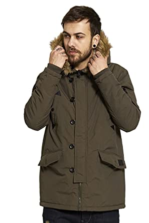 5108f9df7558 Amazon.com: Mens Brave Soul Noel Fur Trimmed Hooded Winter Parka Jacket  Coat Outwear Size S-XL: Clothing