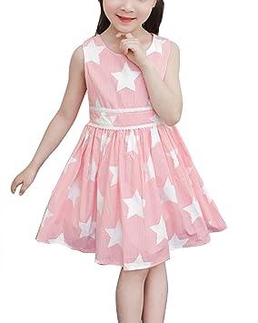 Yonglan Pentagram Rayas Vestido De Princesa Para Niñas Sin Mangas Verano Casual Fiesta A-Line
