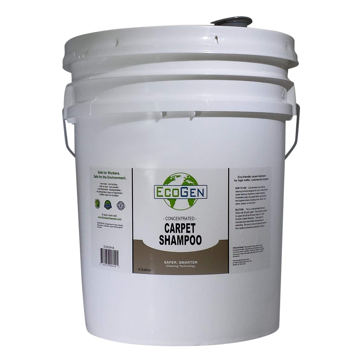 EcoGen ECOCSH-B Professional Strength Carpet Shampoo, Concentrated, 5 Gallon Bucket by EcoGen