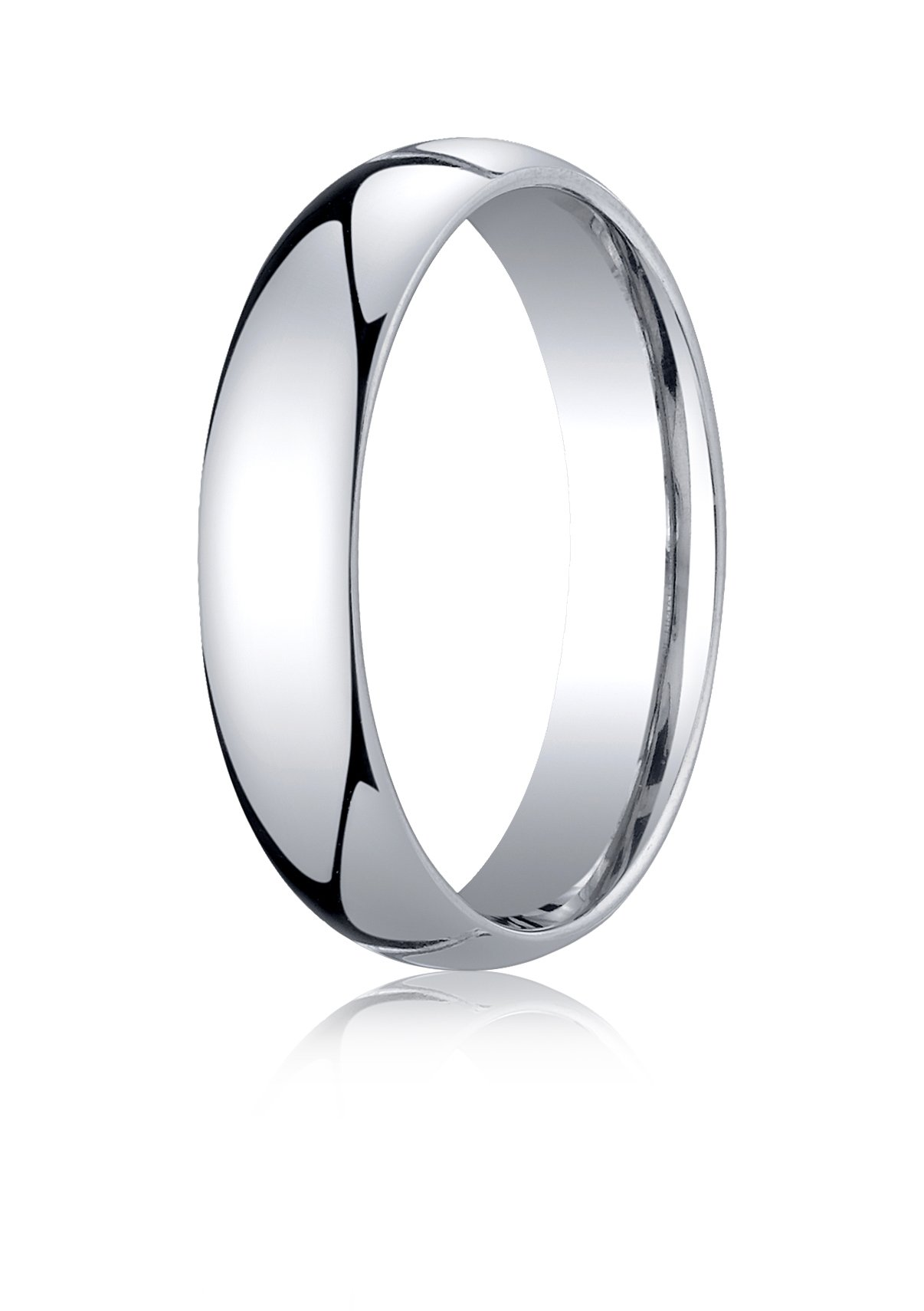 Mens 10K White Gold, 5mm Slightly Domed Standard Comfort-Fit Ring (sz 9.5) by Aetonal (Image #1)