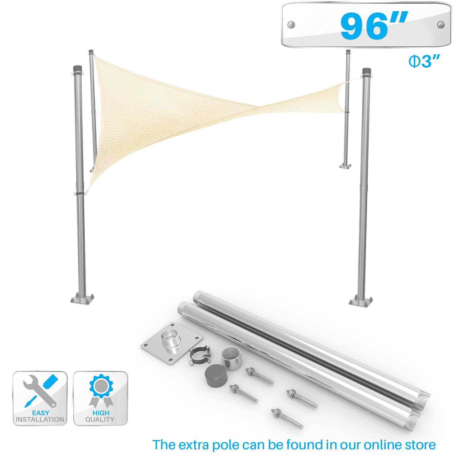 PATIO Sun Shade Sail Canopy Pole Post Kit 8' Feet Tall (96'') Stand Post Heavy Duty Metal Shade Posts Canopy Awning Canvas Tarp Support Poles Deck Galvanized Steel Silver by PATIO