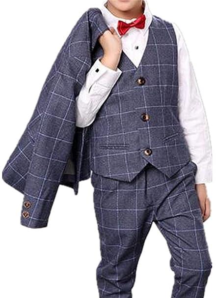 224f816bb0593 (チェリーレッド) CherryRed 男の子 チェック縞 フォーマルスーツ ジャケット+ベスト+ズボン 3