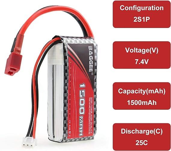 2Stück 25C 1500mAh 7,4V 2S Lipo Akku RC Batterie Deans T-Stecker Für RC Auto Car