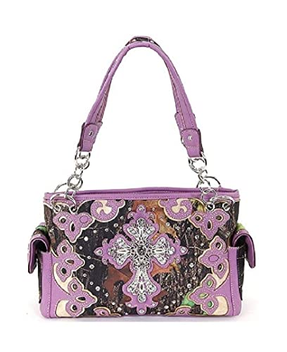 614ee0da04 Image Unavailable. Image not available for. Color  HW Camo Rhinestone Cross  Concealed Carry Purse Purple