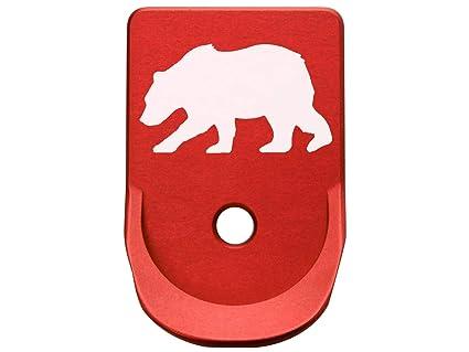 Magazine Base Plate for Glock Gen 1-5 Finger Extended 9MM  357  40 NDZ Red  Bear Silhouette 3