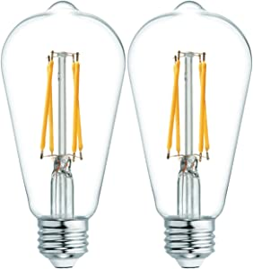 GE Lighting 36566 Clear Finish Light Bulb Dimmable LED Vintage Style ST19 6 (60-Watt Replacement), 560-Lumen Medium Base, 2-Pack, Warm Candle