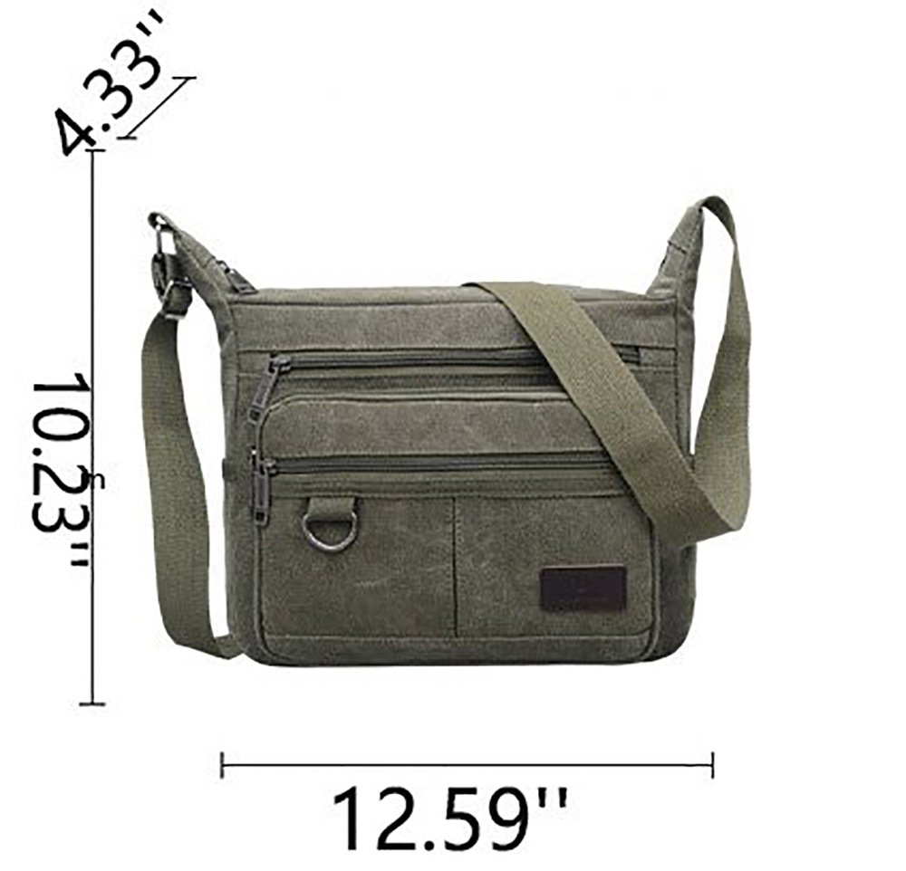 Mfeo Vintage Retro Canvas Shoulder Bag Multi Pocket Cross-body Messenger Bag (Canvas - Coffee) by Mfeo (Image #7)