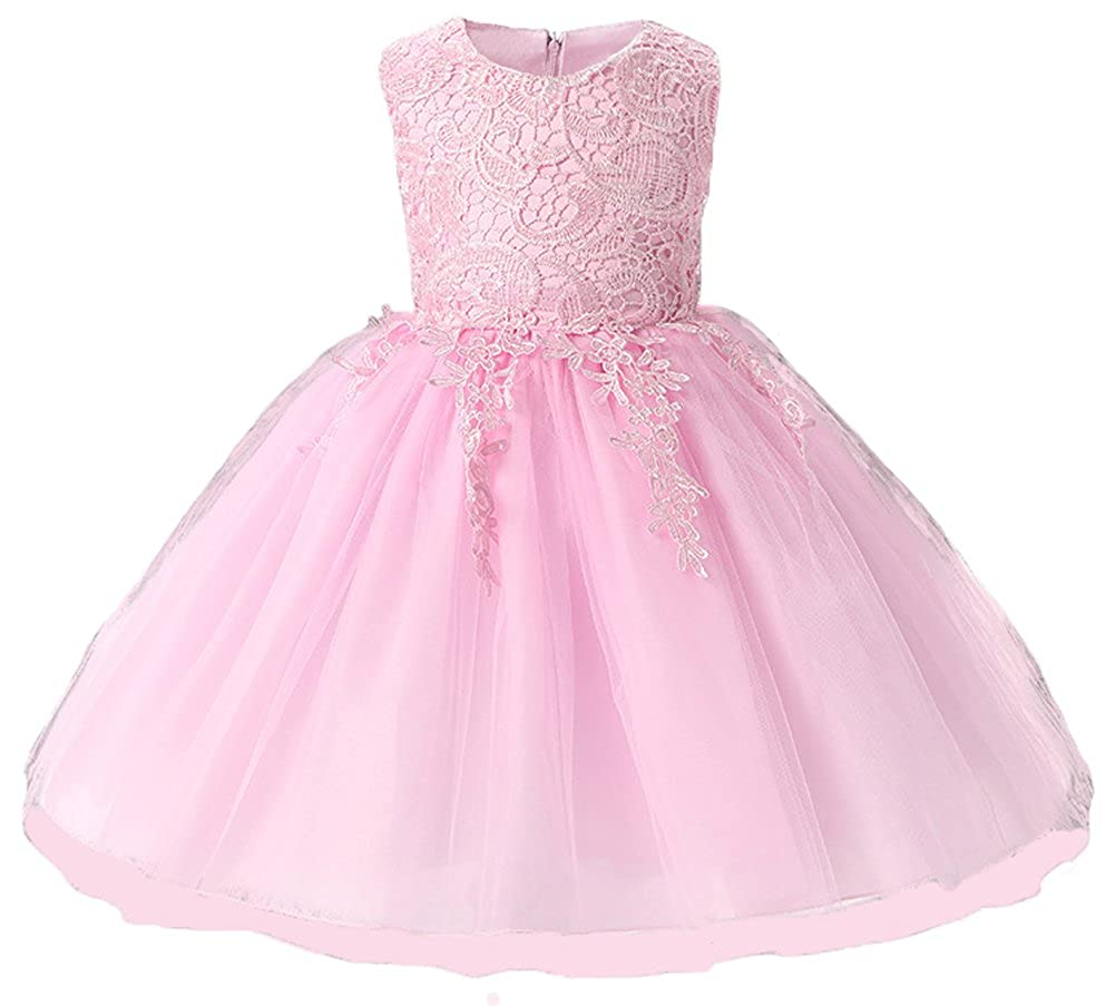 aa9ec39a2a Amazon.com  Myosotis510 Embroidered Lace Flower Girls Dress Princess  Evening Party Sundress Fit 6M-6T  Clothing
